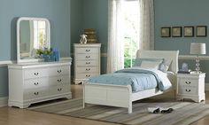 Casual white painted bedroom set   #GrandHomeFurnishings