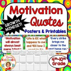 This Character Traits Quotes Posters and Printables product focuses on MOTIVATION (perfect for growth mindset) and includes 10 character traits quotes posters and 10 printables that correspond to each quote about motivation.You can use this resource in a number of ways.-Display each character quote poster in the classroom as time allows and discuss one quote at a time.-Complete the printables during class, with partners or groups, or send it home for homework.