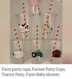 Tractor Birthday, Farm Party, Party Cups, Farmer, Baby Shower, Holiday Decor, Home Decor, Babyshower, Baby Showers