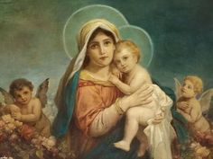 free shipping classic religion figure Mary, baby Jesus angels oil painting canvas prints on canvas wall art decoration picture|canvas prints|print on canvasoil painting - AliExpress Jesus And Mary Pictures, Images Of Mary, Mary And Jesus, God Pictures, Madonna Und Kind, Madonna And Child, Blessed Mother Mary, Blessed Virgin Mary, Religious Pictures