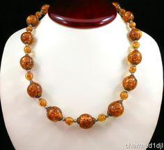 "Vintage Venetian Necklace Murano Sommerso Aventurine Glass Bead 18.5""L Copper #Unbranded #StrandString"
