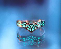 Rose Gold Celtic design ring GLOW in the DARK