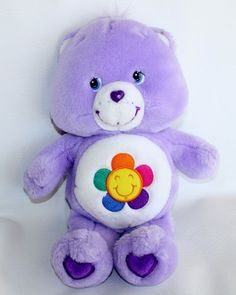 "Care Bears HARMONY BEAR 13"" 2003 Purple Plush Stuffed Animal Lovey"