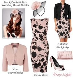 Phase Eight pink and black wedding guest outfits with matching satin shoes, clutch and fascinator. Modern Mother of the Bride Styles for 2015