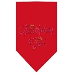 Birthday Girl Rhinestone Bandana Red Small
