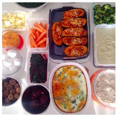 Prepped in a big for a busy week! How was week 2 of your #mealprepchallenge ? Show me your pics #motivemealprep! Here's what I've got (top left) chopped pineapple mashed sweet potato (from the stuffed sweet potatoes) hb eggs protein balls with chocolate chips roasted beets carrot sticks beet greens stuffed sweet potatoes (recipe in blog!) broccoli and cheddar egg bake roasted cauliflower soup overnight apple oats