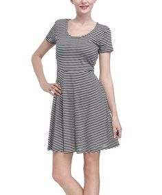 Another great find on #zulily! Black & White Stripe A-Line Dress #zulilyfinds