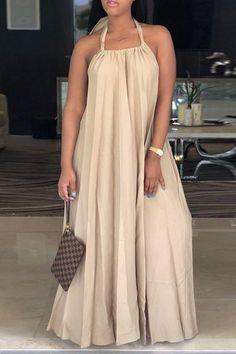 2240a36d7ab Plain Halter Neck Sleeveless Long Dress Modest Outfits