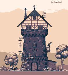 Pixel Art - Structures New Hair Cut zelda's new haircut Game Design, Pixel Art Background, 2d Game Art, Pix Art, Pixel Animation, Pixel Art Games, Building Art, Terraria, Cool Art