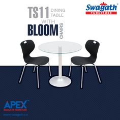 Steel base and glass top TS11 dining #table with Bloom #chairs from Swagath's APEX range of #furniture can make your dining room trendy!!