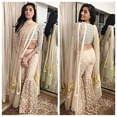 Pernia Qureshi in off-white sharara designed by Vineet Bahl