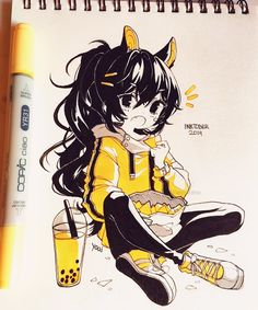 what's your favourite snack? ( ͡° ͜ʖ ͡°) I remember when I was little I used to munch on the drywall in my grandma's house, i'm pretty… Copic Drawings, Anime Drawings Sketches, Cool Art Drawings, Anime Sketch, Kawaii Drawings, Art Manga, Anime Art Girl, Kawaii Art, Kawaii Anime