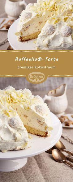 Raffaello® cake: A creamy cake with Raffaello® and coconut liqueur … – Geburtstagskuchen-Rezepte – desserts Ice Cream Recipes, Pie Recipes, Dessert Recipes, Torte Cake, Easy Smoothie Recipes, Cinnamon Cream Cheeses, Pumpkin Spice Cupcakes, Food Cakes, Desert Recipes