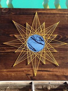String Art Designs, Custom, Handmade Nail and String Art Signs and Home Decor Woodworking Guide, Custom Woodworking, Mirror Illusion, String Art Patterns, Macrame Design, Shabby, Round Mirrors, Wire Art, Sell On Etsy
