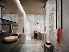 Badideen für Wandfliesen-Mosaike und traditionelle Formate-schwarz-weiß-Cielo