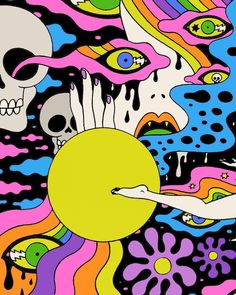 Weekly Inspiration Dose – Indieground Design – Trend Art ideas on World Trippy Painting, Painting & Drawing, Hippie Painting, Trippy Drawings, Art Drawings, Crazy Drawings, Psychedelic Art, Psychedelic Pattern, Art And Illustration
