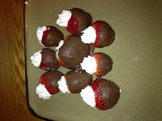 Stuffed chocolate covered strawberries Wash Strawberries and let dry Stem and hull out Dip in melted chocolate ( I like the Walton candy disc) Mix 8 oz cream cheese 2 cups cool whip  1 cup powder sugar and 1 tsp almond flavoring put in cake piping bag and fill strawberries