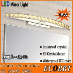 Cheap light pipe led, Buy Quality light led outdoor directly from China light box for art Suppliers: Brief decription:Modern 15W Bathroom LED Crystal Wall Lamp Lights 90-260V Stainless Steel Sconces indoor54cm