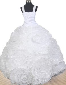 Classic Pageant Dresses for Girls with Rolling Flowers in White in Organza