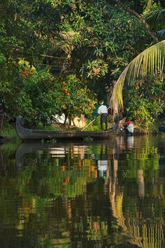 peaceful canal life in the backwaters of Kerala India peaceful canal life in…