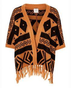 Vero Moda Poncho med frynser i fargene Lys brun/svart innen $GenderDepartment - Cardigans - La Redoute