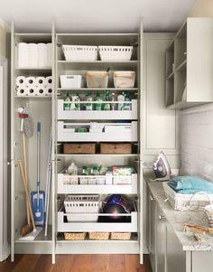 Impeccable Pantry Design for Kitchen - Des Home Design Utility Room Storage, Utility Closet, Laundry Room Organization, Closet Organisation, Laundry Storage, Closet Storage, Storage Shelves, Storage Ideas, Laundry Cupboard