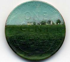 Miniature Oil Paintings on Pennies via @Etsy  #lincoln #art #illinois