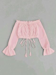 Shop Off Shoulder Drawstring Split Front Blouse online. SheIn offers Off Shoulder Drawstring Split Front Blouse & more to fit your fashionable needs. Cute Girl Outfits, Cute Casual Outfits, Stylish Outfits, Summer Outfits, Girls Fashion Clothes, Teen Fashion Outfits, Girl Fashion, Fashion 2016, Ladies Fashion