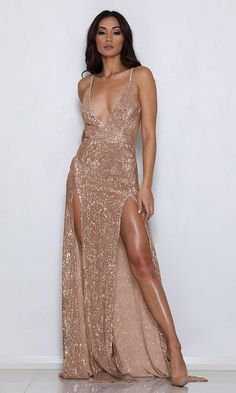 Mystery Girl Champagne Sequin Sleeveless Spaghetti Strap Plunge V Neck Backless Double Slit Maxi Dress