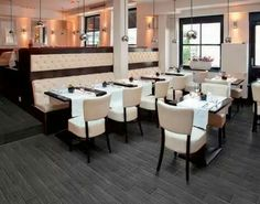 Shaw's ocean avenue elite - carmelo resilient vinyl flooring is the modern choice for beautiful & durable floors. Wide variety of patterns & colors, in plank flooring & floor tiles. Wood Restaurant Chairs, Restaurant Booth, Restaurant Furniture, Restaurant Design, Restaurant Interiors, Restaurant Seating, Commercial Interior Design, Commercial Interiors, Soft Seating