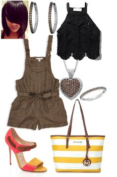 Overall Shorts Urban Outfitters Womens Jennie Cropped Cami  Abercrombie  Manolo Blahnik Ildefonso shoes MICHAEL Michael Kors Striped Medium Travel Tote  LeVian Chocolate Diamonds 1 3/4 ct tw Necklace 14K Vanilla Gold T.W. Enhanced Champagne and White Diamond Inside Out Hoop Earrings  Chocolate Diamond 14K White Gold Ring