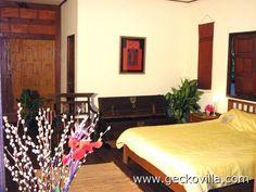 The master bedroom at the private pool villa, Gecko Villa, in rural northeast Thailand, a full-board Thai vacation rental. Udon Thani, Thailand Vacation, Private Pool, Swimming Pools, Master Bedroom, Holiday, Villas, Furniture, Board