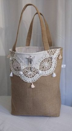 Lace Bag, Lace Decor, Jute Bags, Boho Bags, Denim Bag, Quilted Bag, Fabric Bags, Gift Bags, Fashion Bags