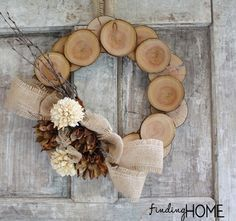 Wood & Burlap Natural Fall Wreath-I would have to add some color--maybe some red in the burlap ribbon