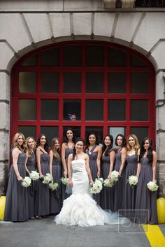 Silver and metallic nail polish go well with gray bridesmaid dresses