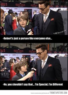 I love him! I just saw Iron Man 3 tonight and that kid is just amazing. I predict that even though RDjr is no longer Iron man, the kid will grow up and become the next one so they can make a bunch of movies about him. I would love that.