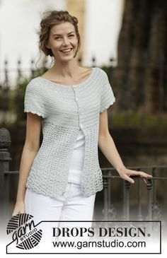 "Crochet DROPS jacket with fan pattern and round yoke, worked top down in ""Cotton Viscose"". Size: S - XXXL. ~ DROPS Design"