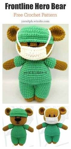 Amigurumi Frontline Hero Bear Free Crochet Pattern This Doll with Face Mask Free Crochet Pattern would make a fantastic gift for that special person in your life that dedicates themselves to the care of others. Crochet Eyes, Crochet Mask, Crochet Birds, Crochet Animals, Crochet Amigurumi Free Patterns, Free Crochet, Crochet Teddy Bear Pattern Free, Kawaii Crochet, Crochet Appliques