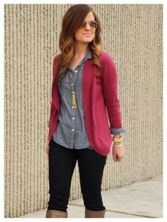 cranberry + chambray. I like the shirt and cardigan look I'm seeing a lot. Especially with the sleeves rolled up a bit. I'd really like it for the cooler months like autumn. Perfect for work, still smart casual but comfy!