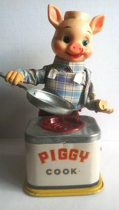 Piggy Cook Vtg Japan Tin Toy 1950s as Is for Parts or Repair not Working | eBay