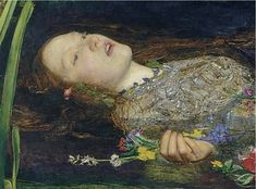 Detail of Ophelia painting by Millais. (1851-1852)
