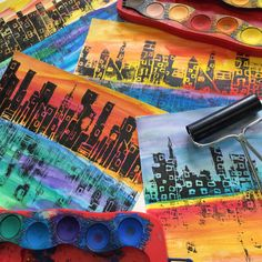 Printmaking I : City Skylines with Reflections – Painted Paper Art