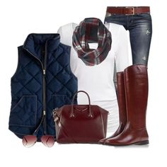 Winter outfits LOVE the red/brown colors with the navy vest; love, love the scarf! Vest Outfits, Casual Outfits, Cute Outfits, Fashion Outfits, Womens Fashion, Fashion Trends, Fashion Top, Teen Fashion, Fall Winter Outfits