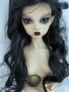 "16"" Mini MSD dollfie bjd OOAK LT Tan skin elf ears Nabiya Raven fairy doll"