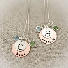 Best Friends Necklace Set with Birthstones and Initials Sterling Silver and Copper Hand Stamped Personalized