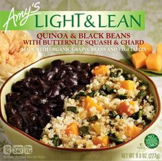 Amy's Quinoa and Black Bean bowl is easy to prepare, high in fiber, low in fat and calories, gluten free and non dairy. You'll be delighted with the great flavor of the organic black beans, quinoa, Swiss chard and butternut squash.