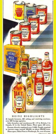 Vintage Heinz Ad - Shows everything they made back then, if you needed it in the kitchen they had it - 1933