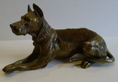 Large Antique Figural Bronze Pen or Nib Wipe - Dog - Great Dane c.1880