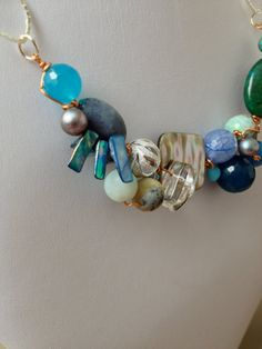 Blue OOAK Wired Necklace by LittleGemsByLuisa on Etsy, $35.00