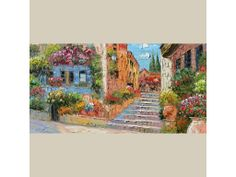 Lazy Afternoon 23 X 45 ORIGINAL Oil Painting Palette Knife Textured Flowers Sunny Village Stairs Italy Blue Sky Colorful ART by Marchella